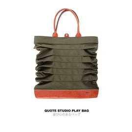 Quote Studio - QUOTE Play Bag Leather N Canvas -- Green