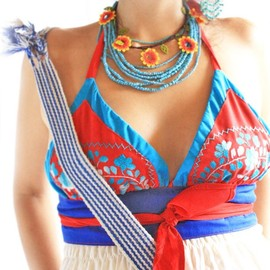 Coral Reef Mexican embroidered top bohemian hippie chic with love from Mexico size M L bikini