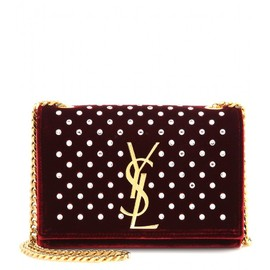 SAINT LAURENT - Embellished Classic Monogramme velvet shoulder bag