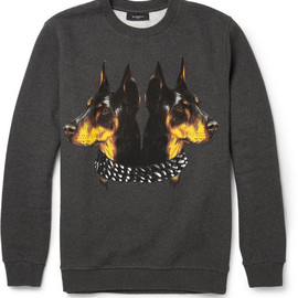 GIVENCHY - 2013AW Doberman Print Cotton Jersey Sweatshirt