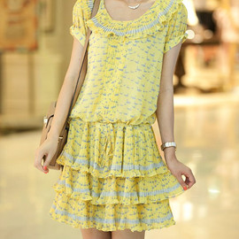 MaLieb - Lovely swan pattern summer short sleeve Waist drawstring chiffon dress