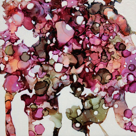 Andrea Pramuk - Rain Trees [warm] , 2013, watercolor, alcohol inks, oil and cold wax on panel
