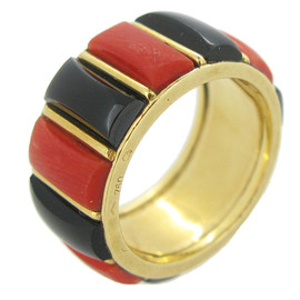 Cartier Paris - 1970s Coral Onyx Gold Band Ring