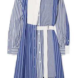 sacai - FW2018 Asymmetric striped cotton-poplin and piqué dress