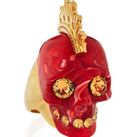 Alexander McQueen - Plexi Punk Skull Ring, Red/Golden