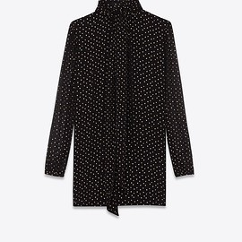 SAINT LAURENT - Lavallière-neck dress in silk seersucker printed with tiny stars, Front view