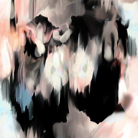 Petra Cortright - peach, white, black, 2011, acrylic on canvas