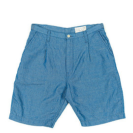 Porter Classic - Hand Work Chambray Shorts-Blue