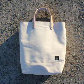 86CRAFT - NATURAL LEATHER HANDLE CANVAS TOTE