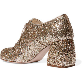miu miu - Glittered leather brogues