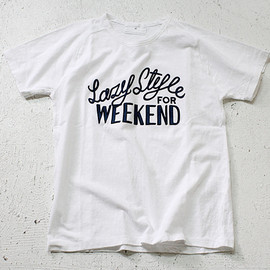 STILL BY HAND - Lazy Style for Weekend プリントTシャツ - White 02