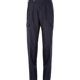 Yves Saint Laurent - Pleated Silk Navy Cargo Suit Trousers