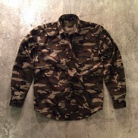 68&Brothers - Rip Stop B.D Shirts With Tie/Woodland Camouflage
