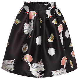 Swan Print Flare Skirt pictures