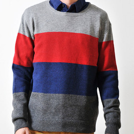 graniph - Color Block Long Sleeve Knit(Navy)