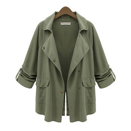 fashion - Fashion casual army green frock trench coat