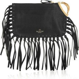 VALENTINO - SS2014 Scarab fringed textured-leather clutch