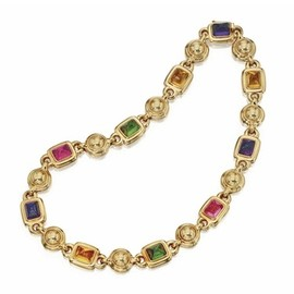 CHANEL - 18K Gold and Colored Stone Necklace, Chanel