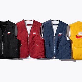 Supreme - Reversible Nylon Vest with sherpa fleece lining and embroidered logos.