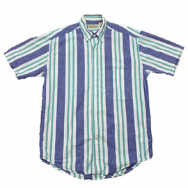 L.L.Bean - Vintage 90s LL Bean Chambray Striped Button Down Shirt Mens Size Small