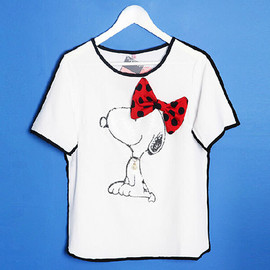 Cute Snoopy Pattern Bowknot Sequin Pearl Loose Short Sleeve T-Shirt