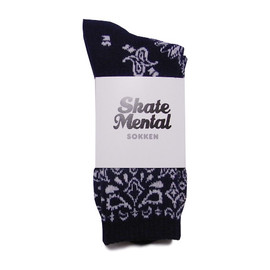 SKATE MENTAL - NAVY PAISLEY SOCKS