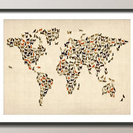 artPause  - Cats Map of the World Map, Art Print, 18x24 inch (180)