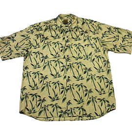 VINTAGE - Vintage 90s Gold/Green Palm Tree Print Silk Button Up Shirt Mens Size XL