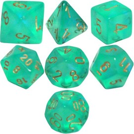 Polyhedral - 7-Die Borealis Dice Set - Light Green with Gold