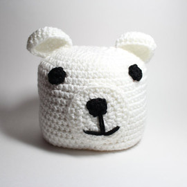 MsAmandaJayne - Polar bear Childrens beanie-Crocheted Kids Animal Hat- White Winter Kids Beanie.