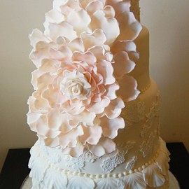 Pale Yellow Lace Wedding Cake & Large Pink Flower