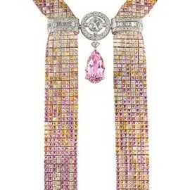 Boucheron - Mosaique Delilah morganite, diamond and colored sapphire necklace.