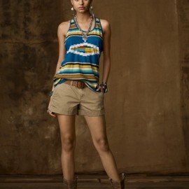 RALPH LAUREN Denim & Supply - Printed Jersey Racerback Tank