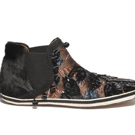 MARC JACOBS - SS2014 Fur and Bijou Embroidery High Cut SLIP-ON