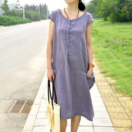 MaLieb - Red lotus/ Light purple short sleeved dress