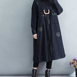 Loose Fitting shirt - Women's Dark blue dress, Loose Fitting shirt cardigan, Loose Thin windbreaker