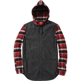 Supreme - Hooded Plaid Denim Shirt - Black Denim