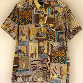 Engineered Garments - Popover BD Shirt-Lava Print/Khaki