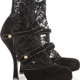DOLCE&GABBANA - Suede and stretch-lace ankle boots