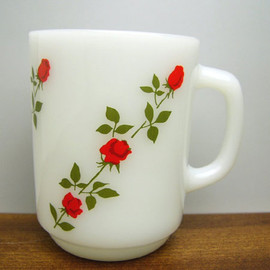 Fire King - Red Rose Mug Cup