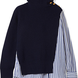 sacai - FW2018 Paneled striped cotton-poplin and wool top