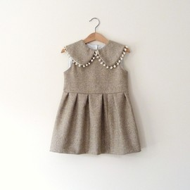 Fall Wool Dress in Sand With Peter Pan Collar and Pom-Poms..