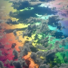 Rainbow colored sea