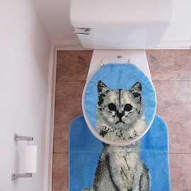SpicyToast - Kitty kitten Cat Toilet Seat cover with rug amazing deadstock NOS 1992 1990 kitsch geekery blue meow