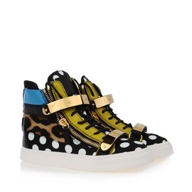 Giuseppe Zanotti - Polka dots and leopard nappa leather sneakers