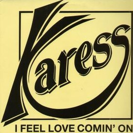 Karess - I Feel Love Comin On (1989 EX/EX UK Blue Beat 12 Inch  - 3 Track Extended Version Pic Sleeve , BBLS007)