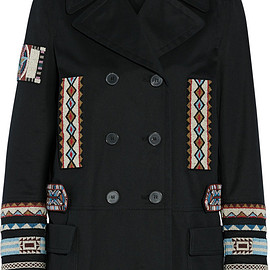 VALENTINO - SS2016 Double-breasted bead-embellished cotton-twill jacket