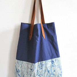 POTIPOTI - SHOPPER BAG IN NAVY BLUE & PARROTS