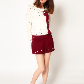 Nishe - Star Embroidered Blouse Body Top