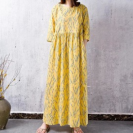 yellow dress, Tunic dress - Women maxi dress, Cotton linen long yellow dress, Tunic dress